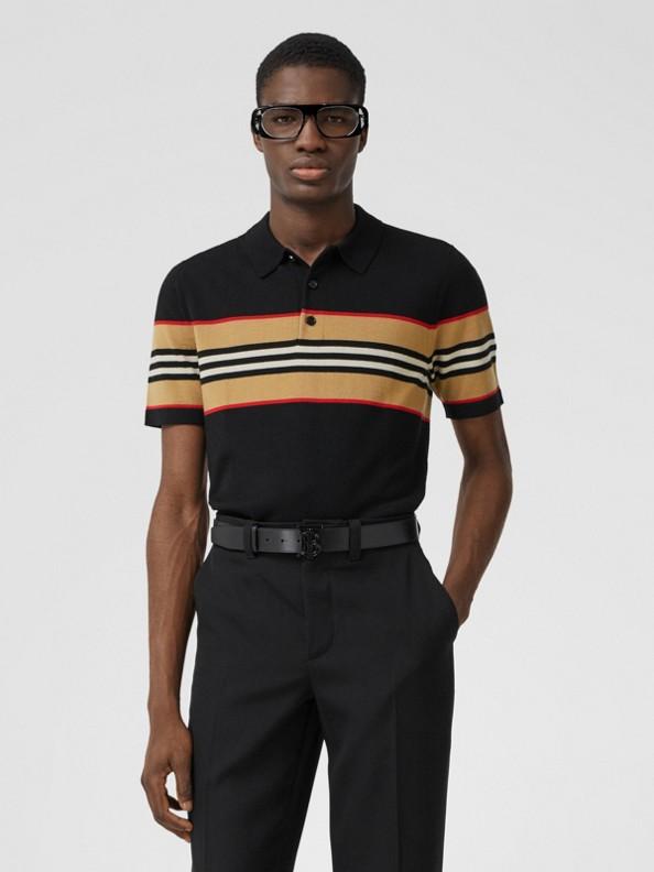 Icon Stripe Detail Merino Wool Polo Shirt in Black