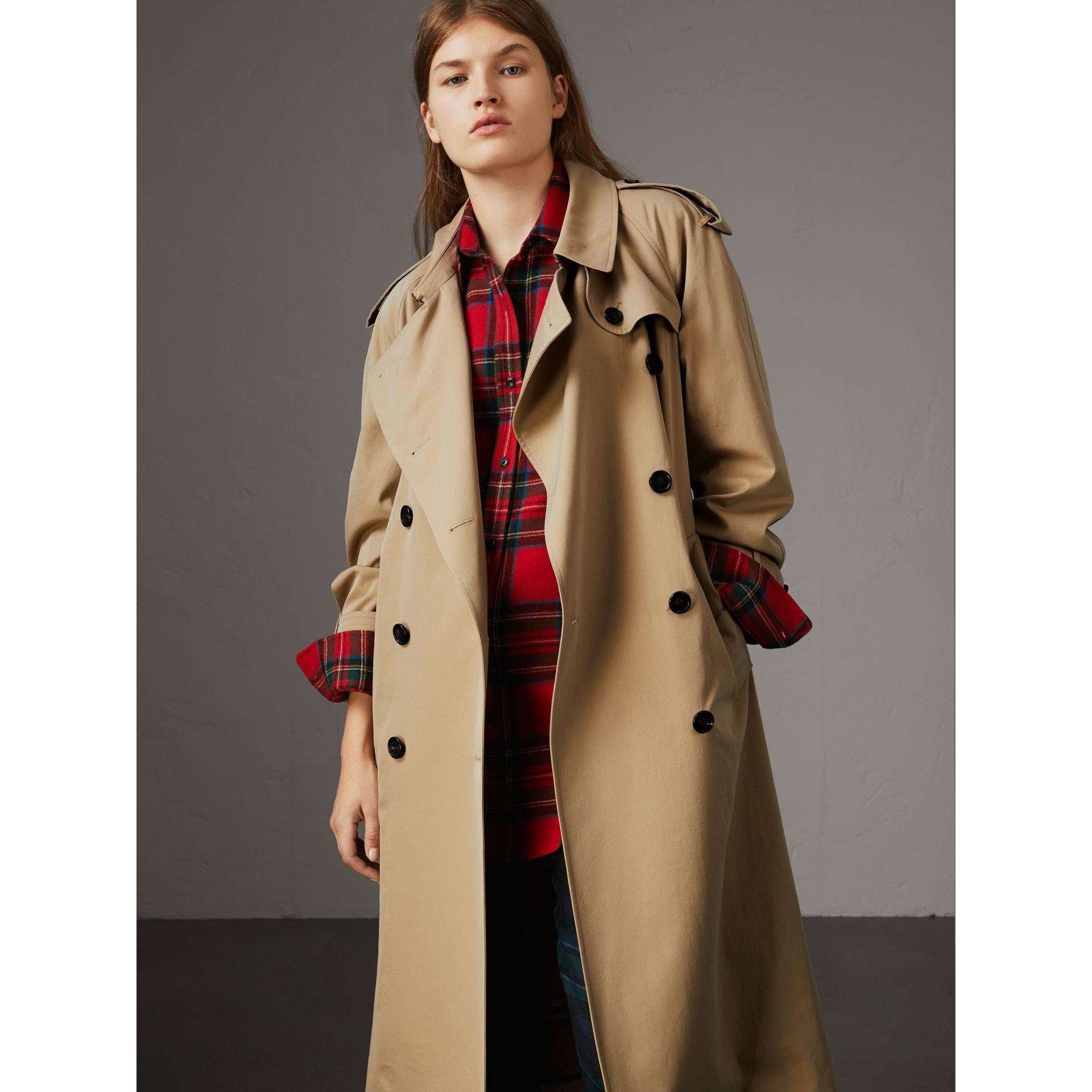 Tropical Gabardine Trench Coat with Detachable Facing in Honey - Women | Burberry - gallery image 6