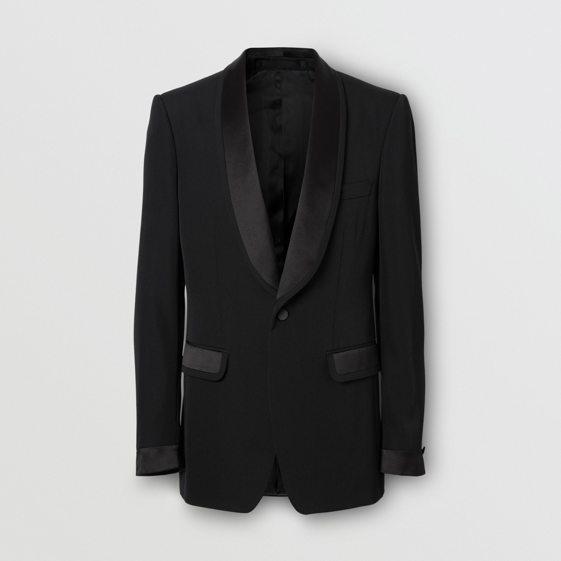 English Fit Silk Trim Wool Tailored Jacket in Black - Men | Burberry - gallery image 3