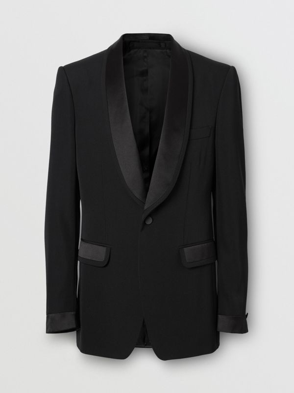 English Fit Silk Trim Wool Tailored Jacket in Black - Men | Burberry - cell image 3