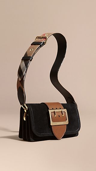 The Buckle Bag in Suede with Topstitching Black / Tan