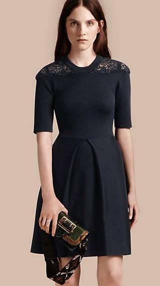 Macramé Lace Detail Silk Blend Dress