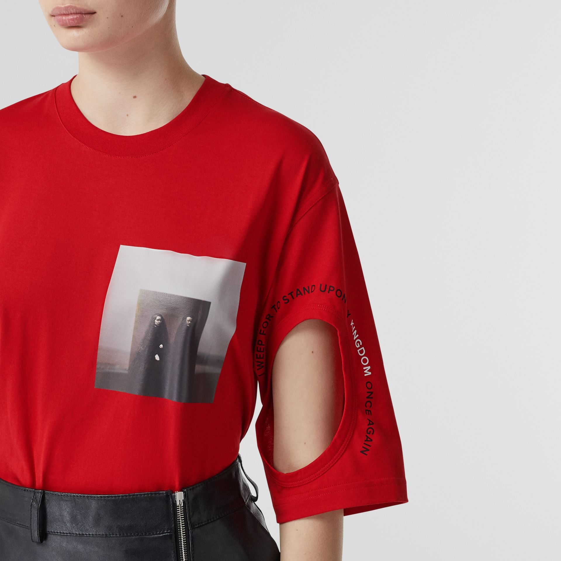 Cut-out Detail Montage Print Oversized T-shirt in Bright Red - Women | Burberry United Kingdom - gallery image 1