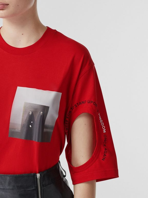 Cut-out Detail Montage Print Oversized T-shirt in Bright Red - Women | Burberry United Kingdom - cell image 1