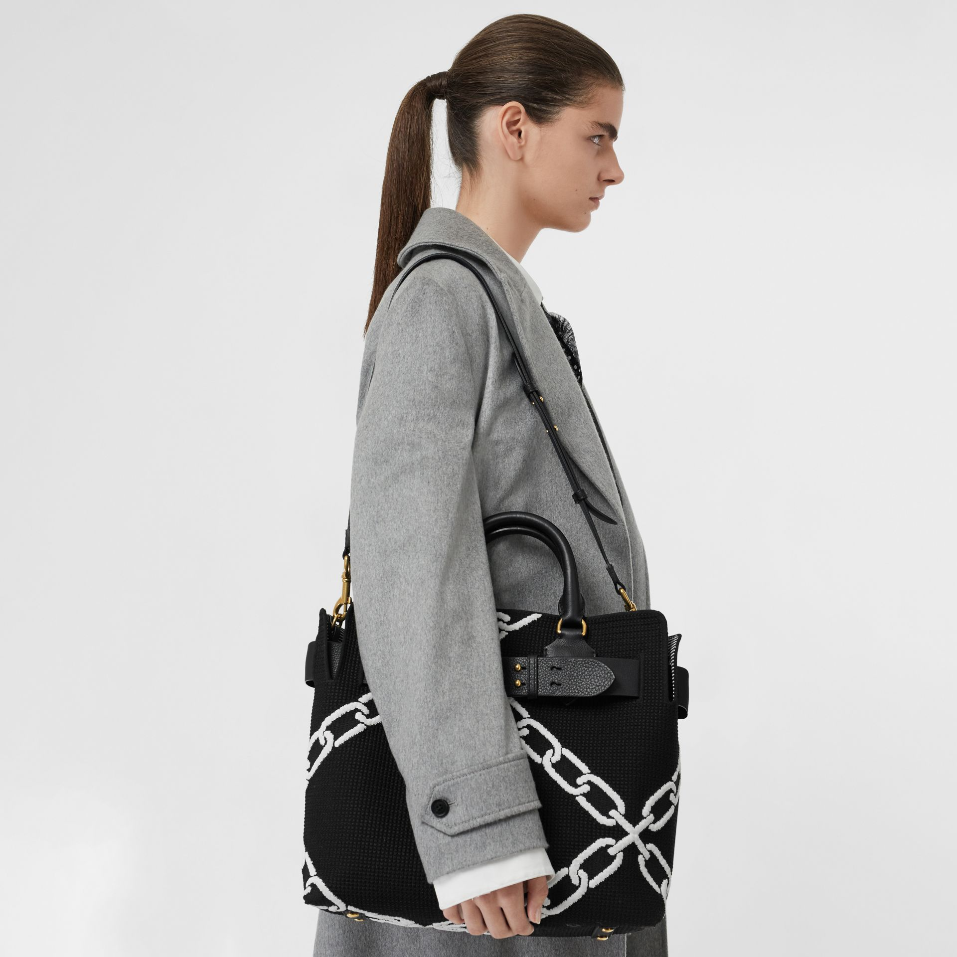 The Medium Knitted Link Belt Bag in Black - Women | Burberry - gallery image 3