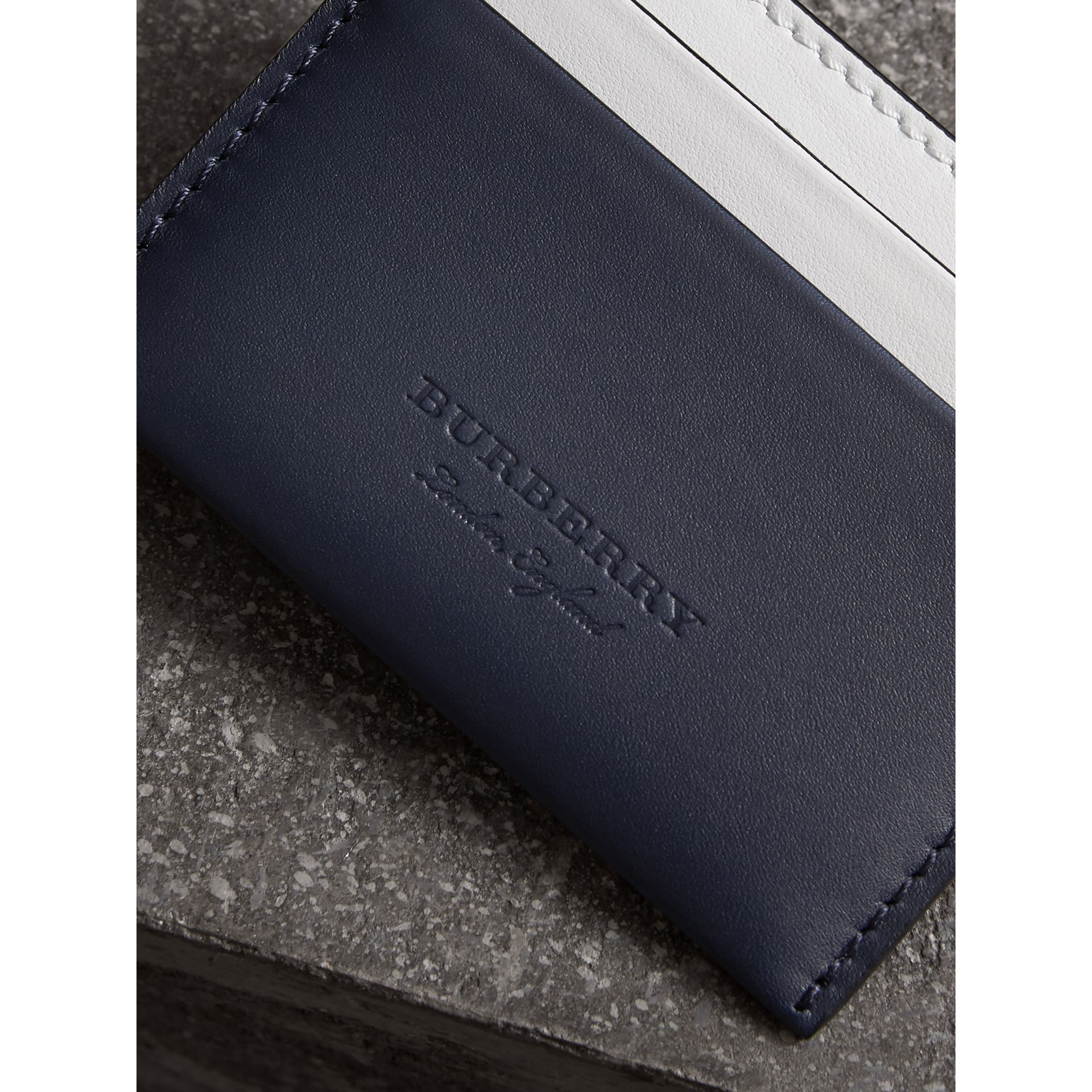 Two-tone Leather Card Case in Mid Indigo | Burberry - gallery image 3