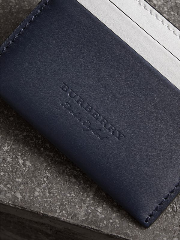 Two-tone Leather Card Case in Mid Indigo | Burberry - cell image 3