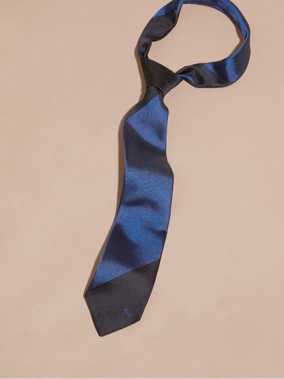 Navy Slim Cut Striped Jacquard Silk Tie Navy - cell image 2