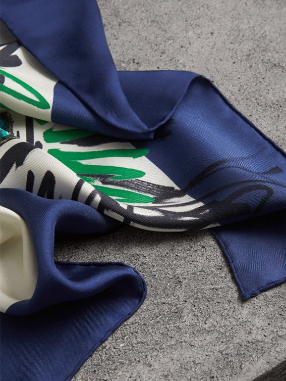 Scribble Archive Crest Silk Square Scarf in Bright Navy | Burberry - cell image 1