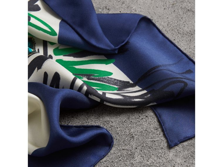 Scribble Archive Crest Silk Square Scarf in Bright Navy | Burberry Canada - cell image 1