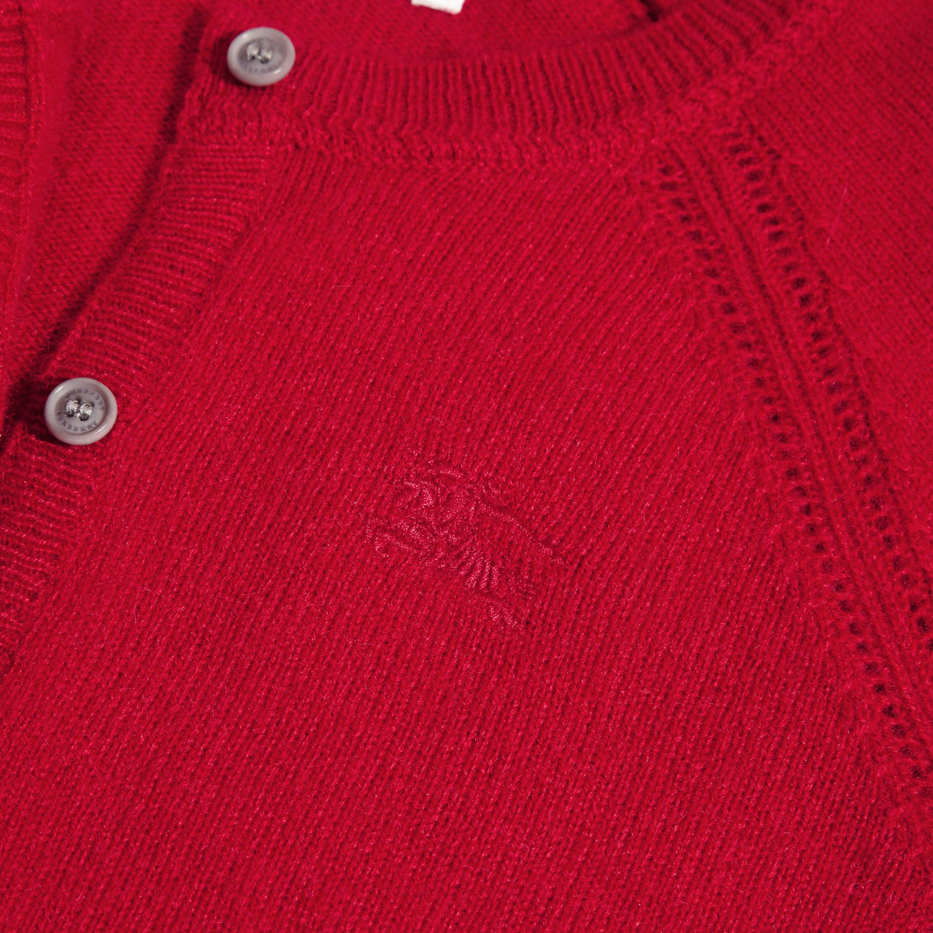 Check Cuff Cashmere Cardigan Parade Red - gallery image 2