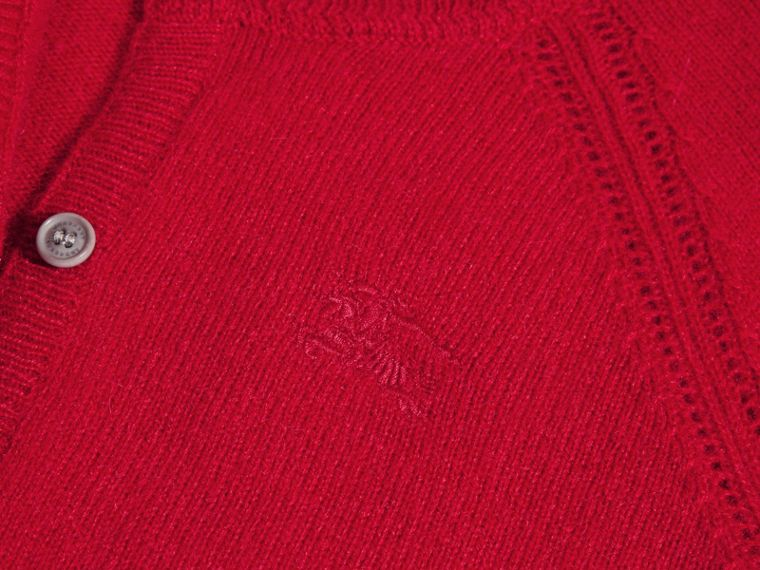 Check Cuff Cashmere Cardigan in Parade Red - cell image 1