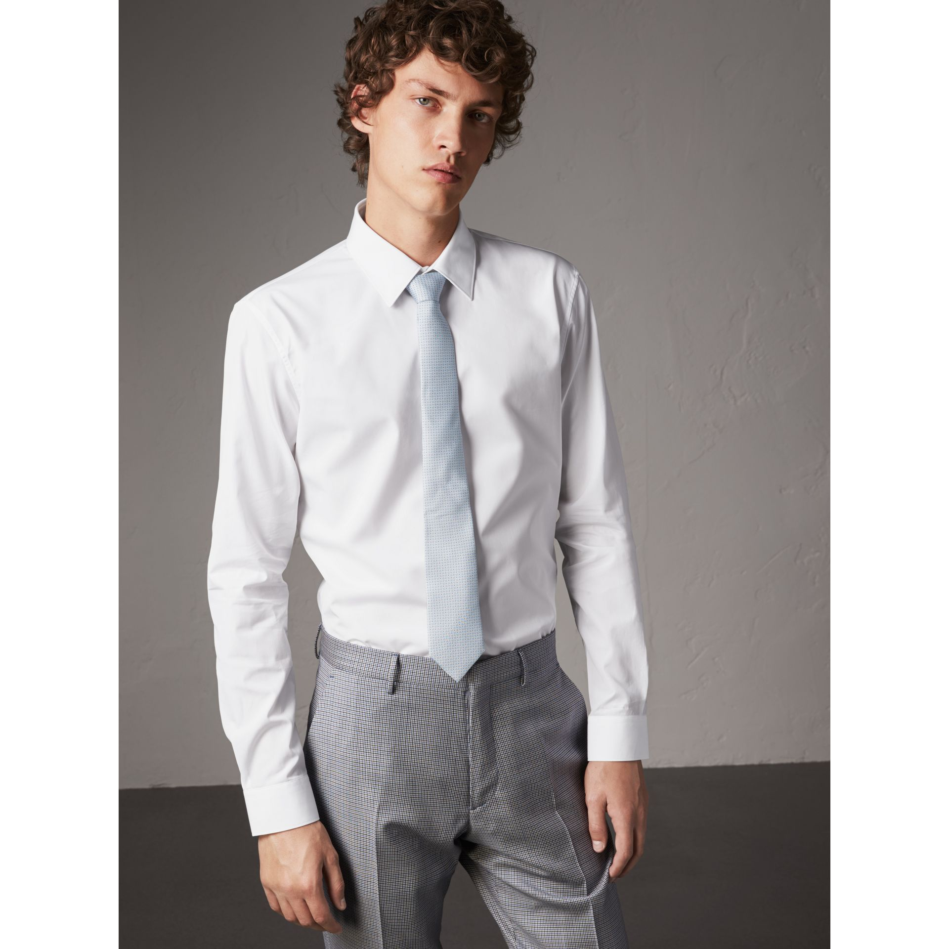 Slim Fit Cotton Poplin Shirt in White - Men | Burberry Hong Kong - gallery image 5