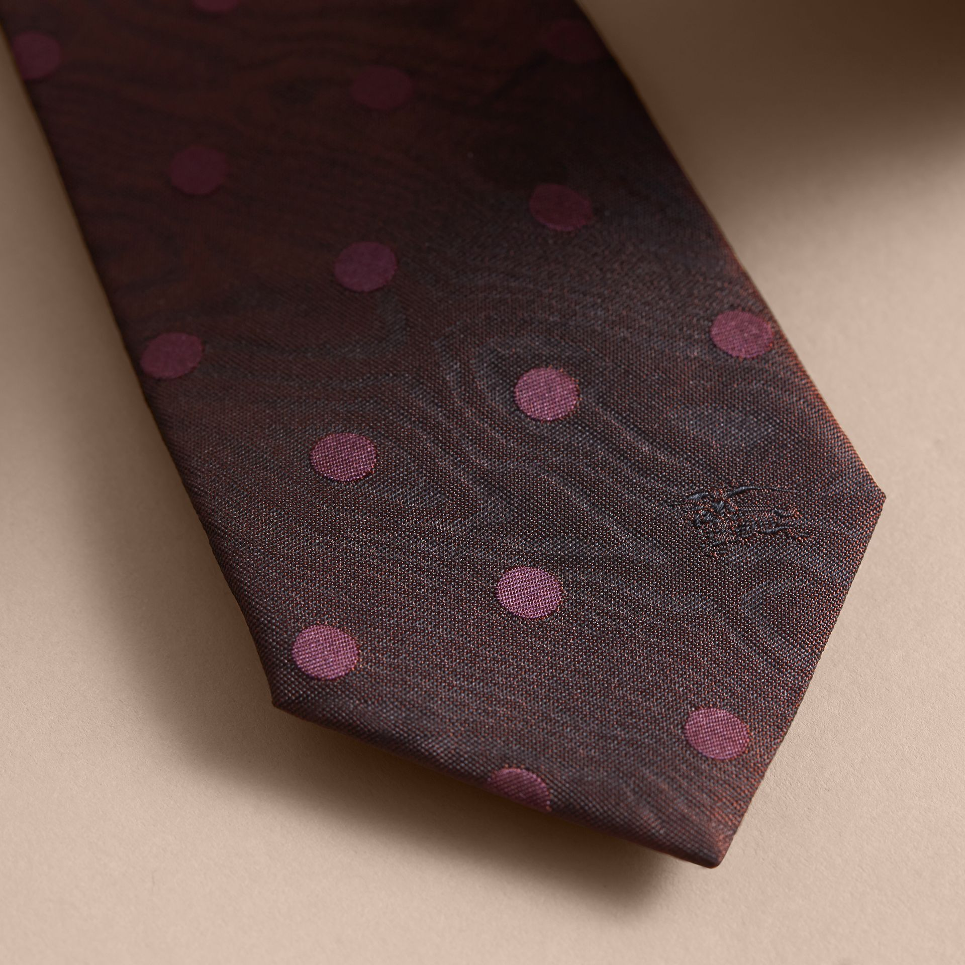Modern Cut Polka Dot Silk Tie in Deep Claret - gallery image 2