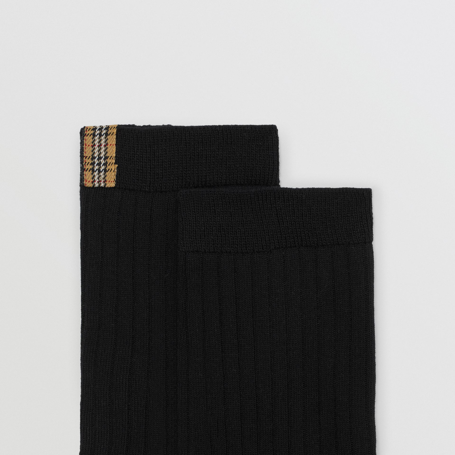 Check Detail Cotton Blend Socks in Black | Burberry - gallery image 1