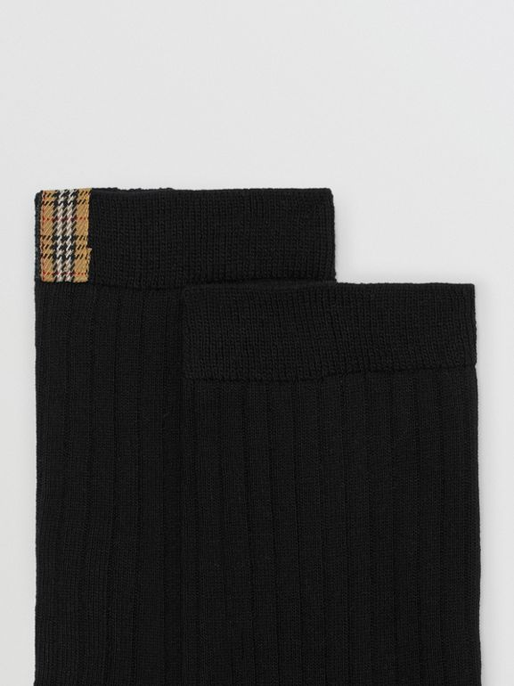 Check Detail Cotton Blend Socks in Black | Burberry - cell image 1