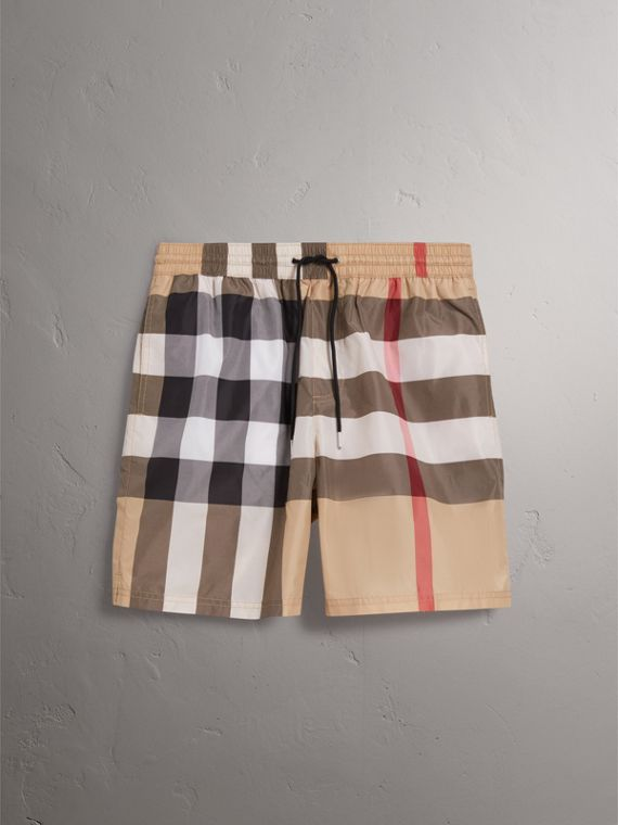Check Drawcord Swim Shorts in Camel