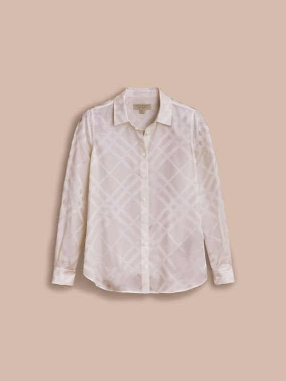 Tonal Check Silk Shirt in White - Women | Burberry - cell image 3