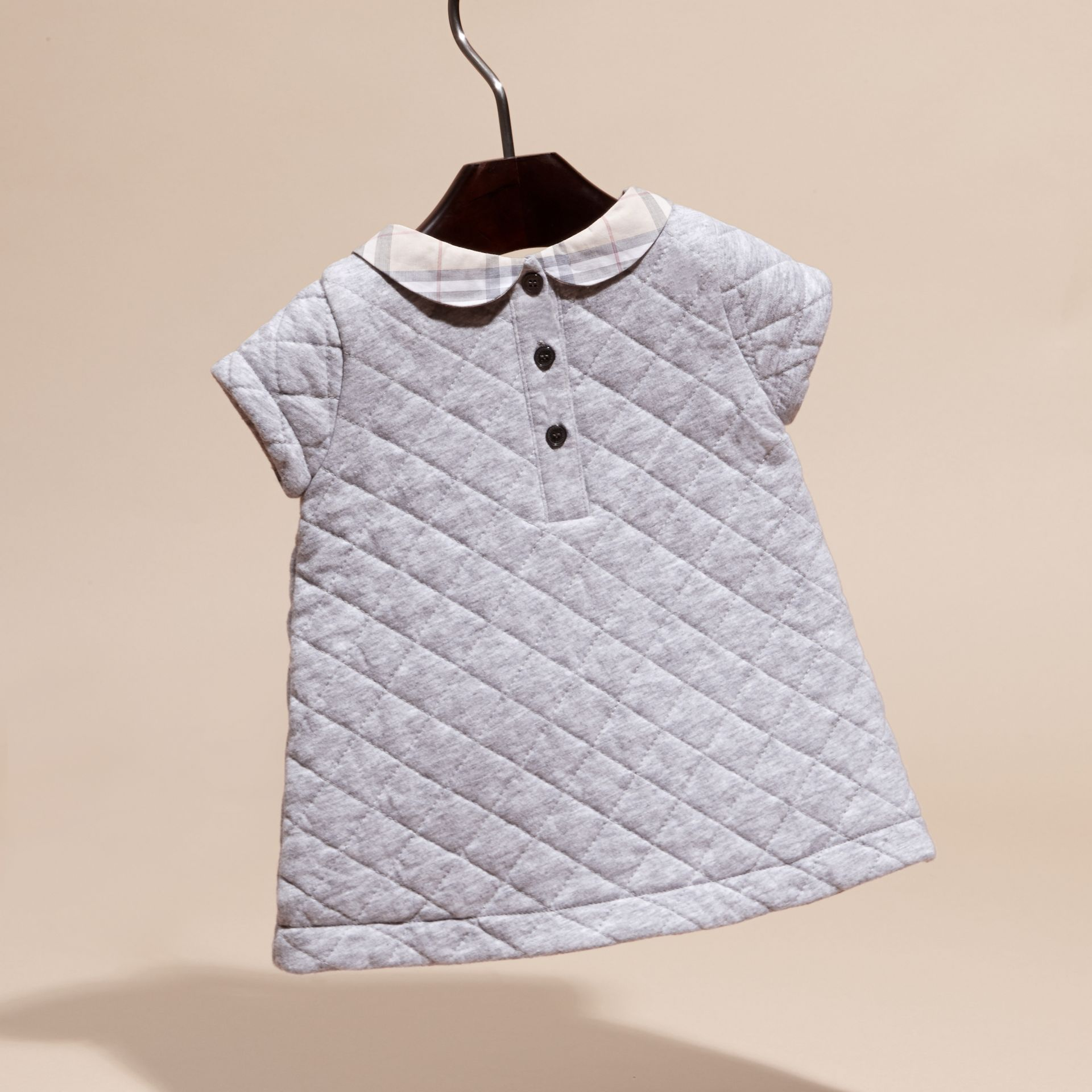 Grey melange Quilted Cotton Dress with Check Collar - gallery image 4