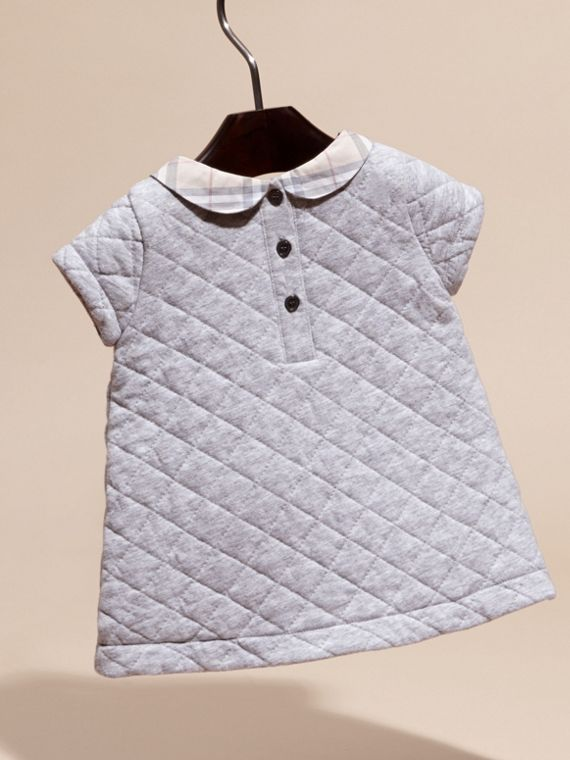 Grey melange Quilted Cotton Dress with Check Collar - cell image 3