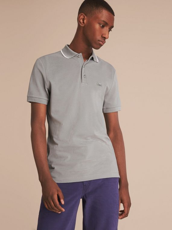 Tipped Collar Cotton Piqué Polo Shirt Mist Grey