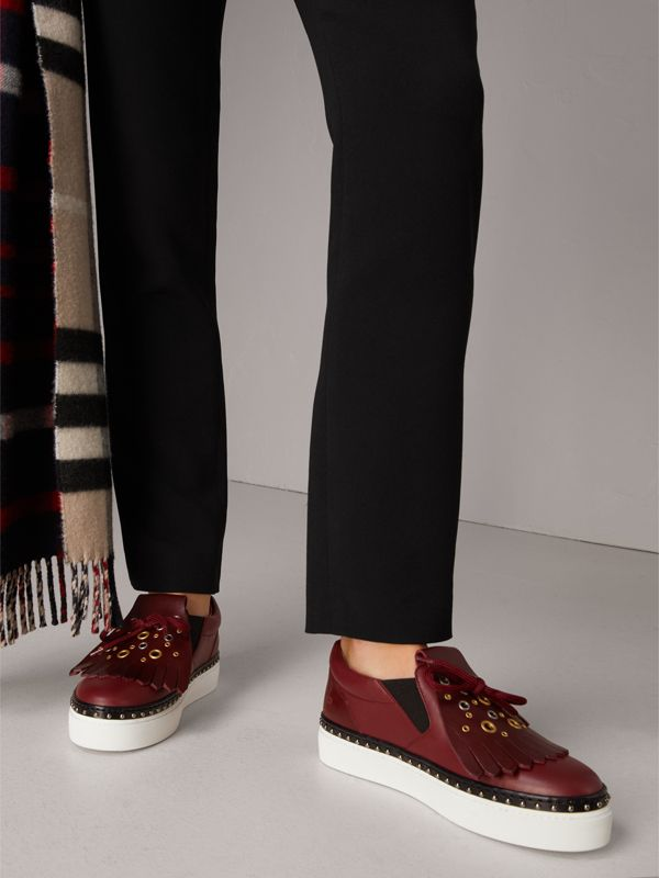 Kiltie Fringe Leather Sneakers in Cerise Purple - Women | Burberry - cell image 2