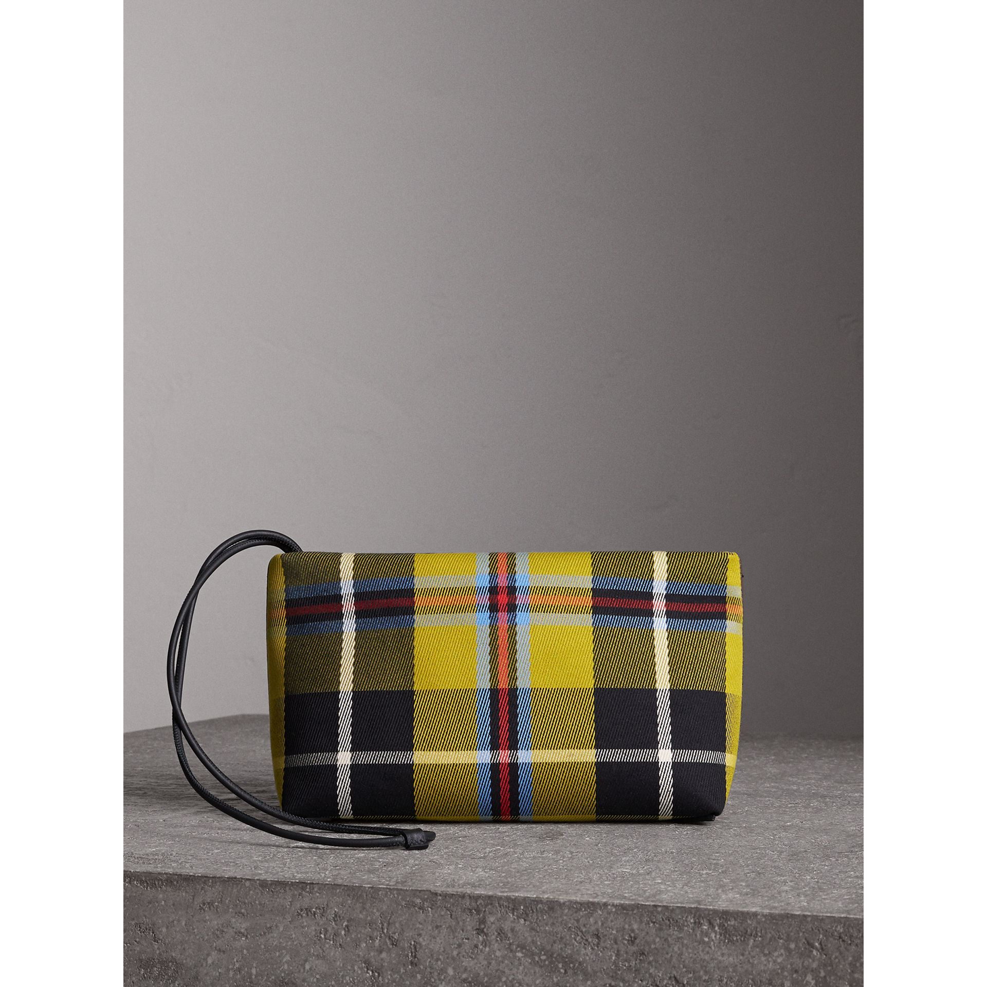 Tartan Cotton Clutch in Flax Yellow/caramel | Burberry United States - gallery image 7