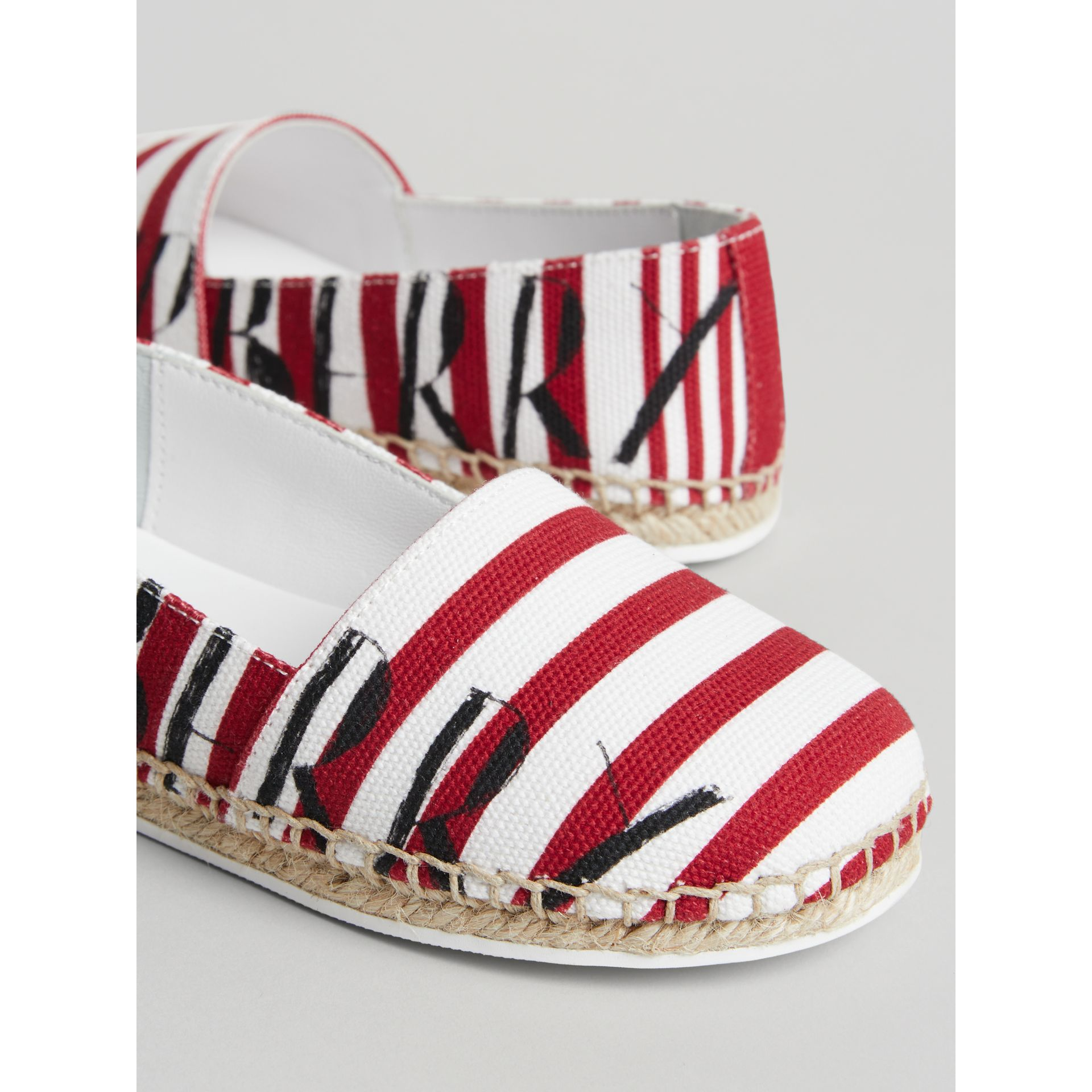 SW1 Print Striped Cotton Espadrilles in Bright Red | Burberry Australia - gallery image 1