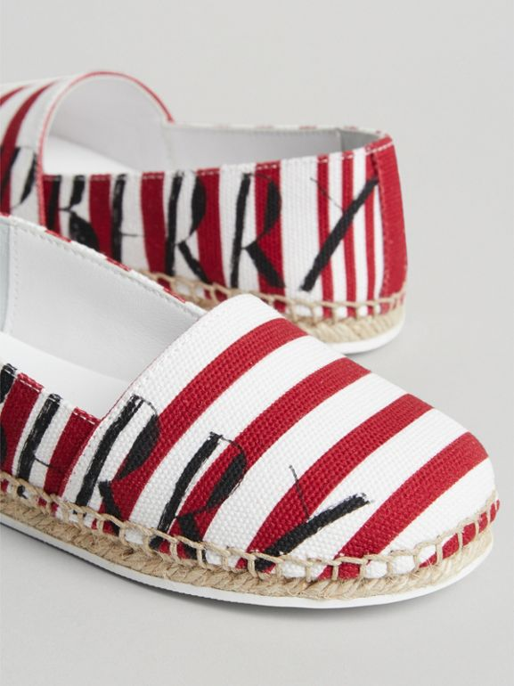 SW1 Print Striped Cotton Espadrilles in Bright Red - Children | Burberry - cell image 1