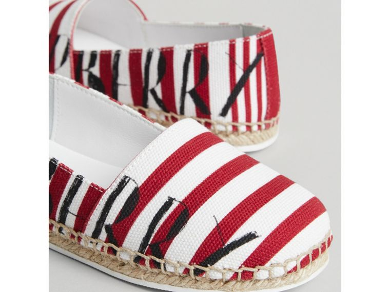 SW1 Print Striped Cotton Espadrilles in Bright Red | Burberry - cell image 1