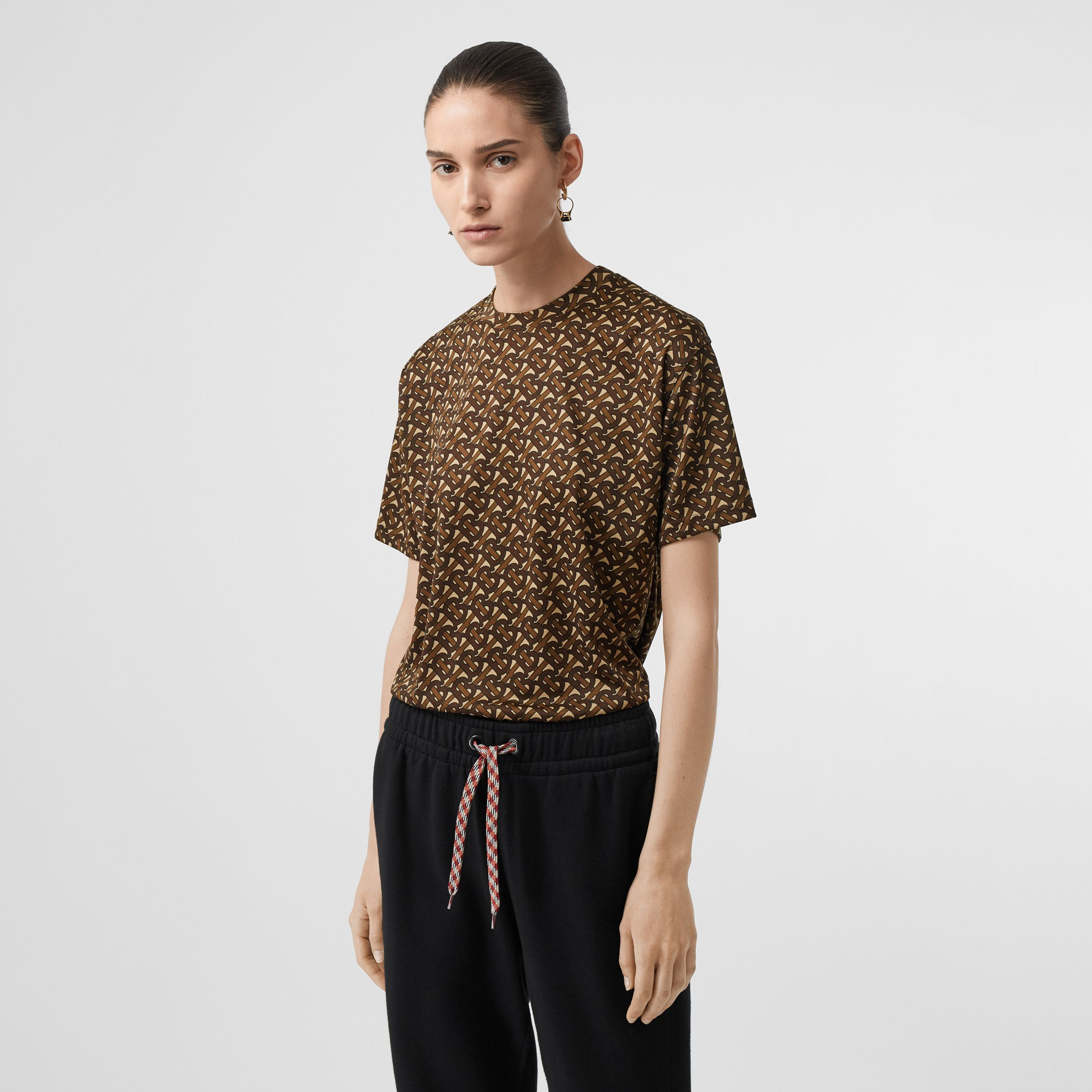 Monogram Print Jersey Oversized T-shirt in Bridle Brown - Women | Burberry - 4