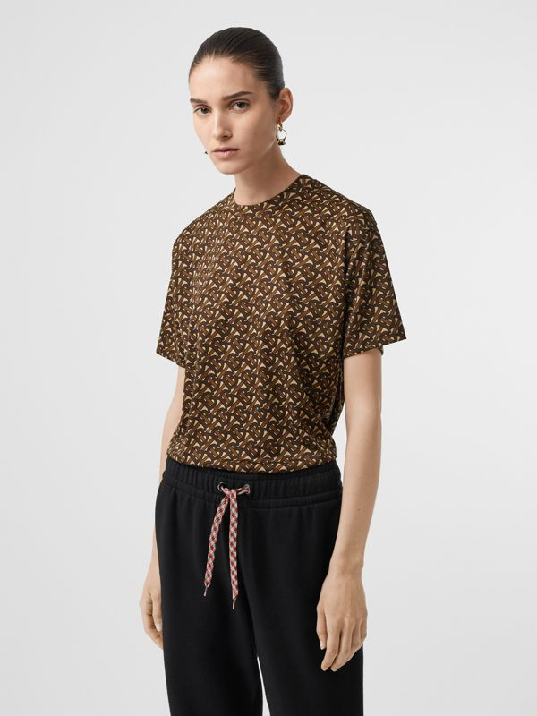 Monogram Print Jersey Oversized T-shirt in Bridle Brown - Women | Burberry Canada - cell image 3