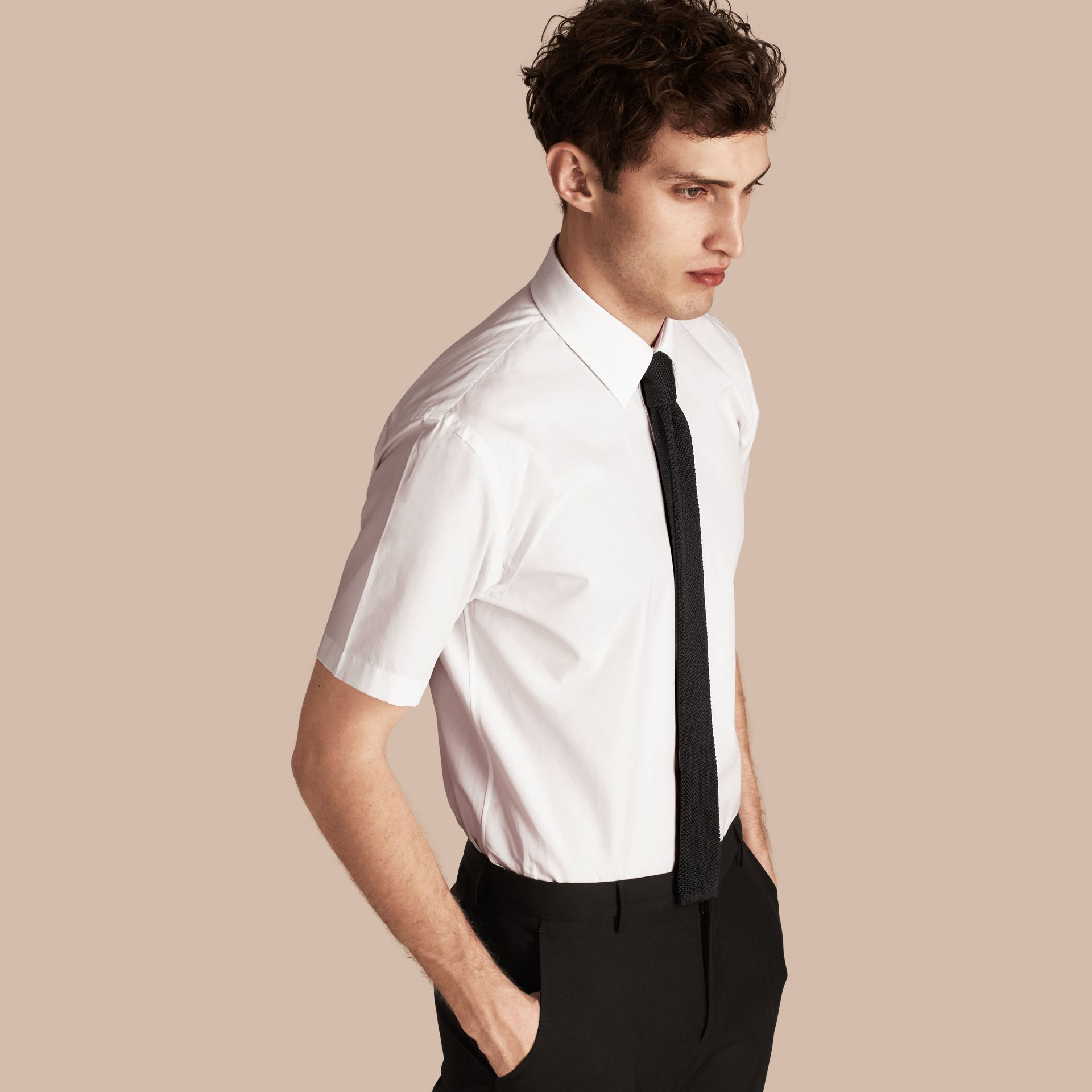 Modern Fit Short-sleeved Cotton Poplin Shirt - Men | Burberry - gallery image 1