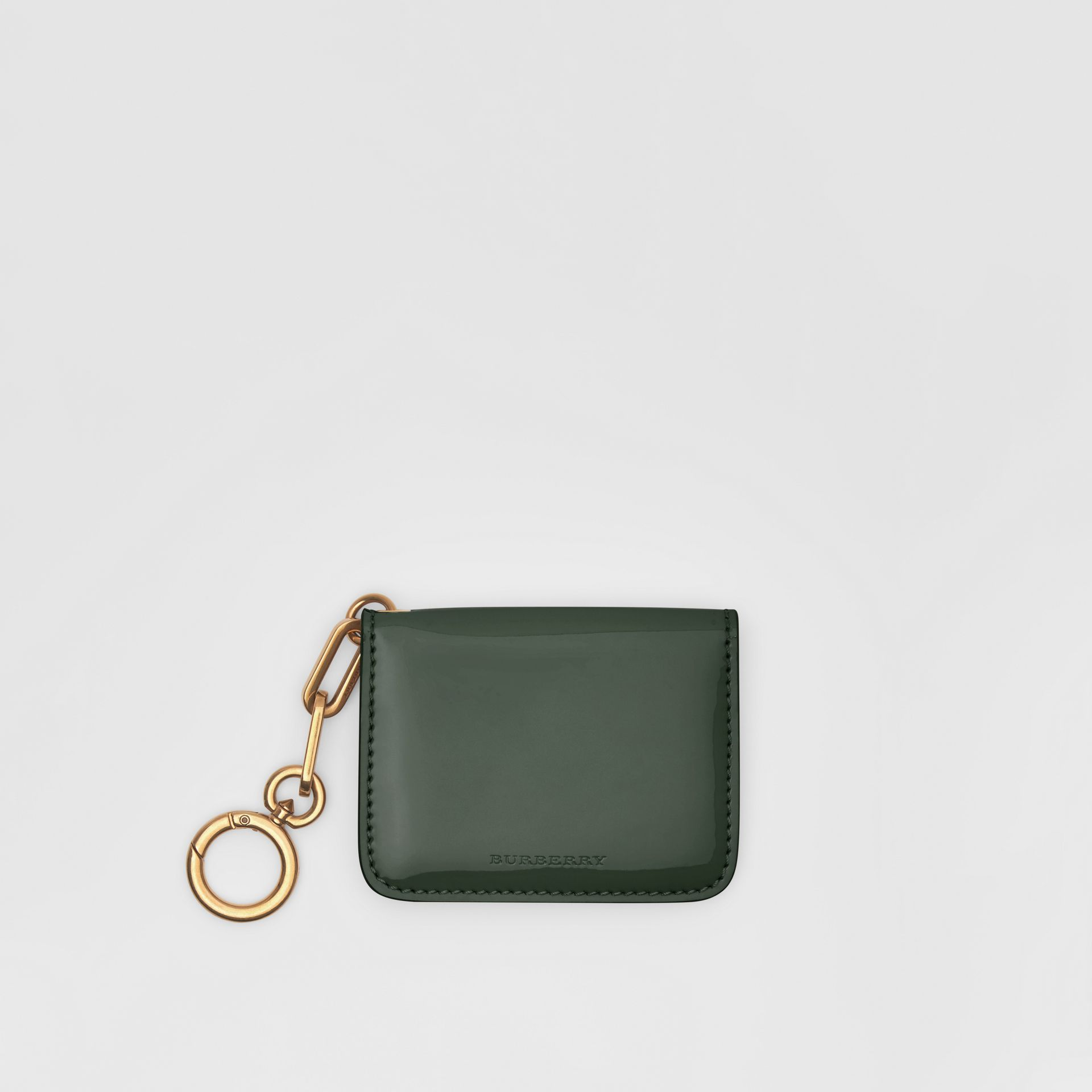 Link Detail Patent Leather ID Card Case Charm in Dark Forest Green - Women | Burberry United States - gallery image 0