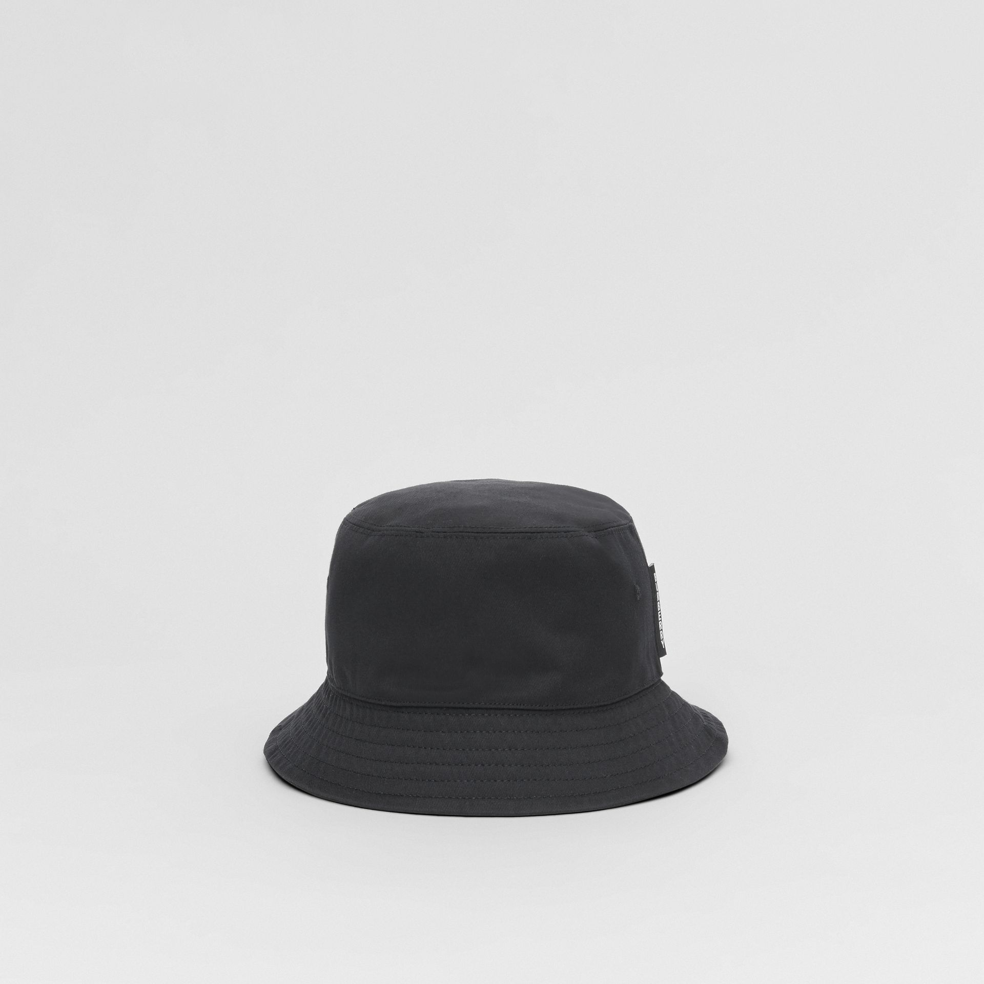 Logo Detail Cotton Twill Bucket Hat in Black | Burberry - gallery image 4