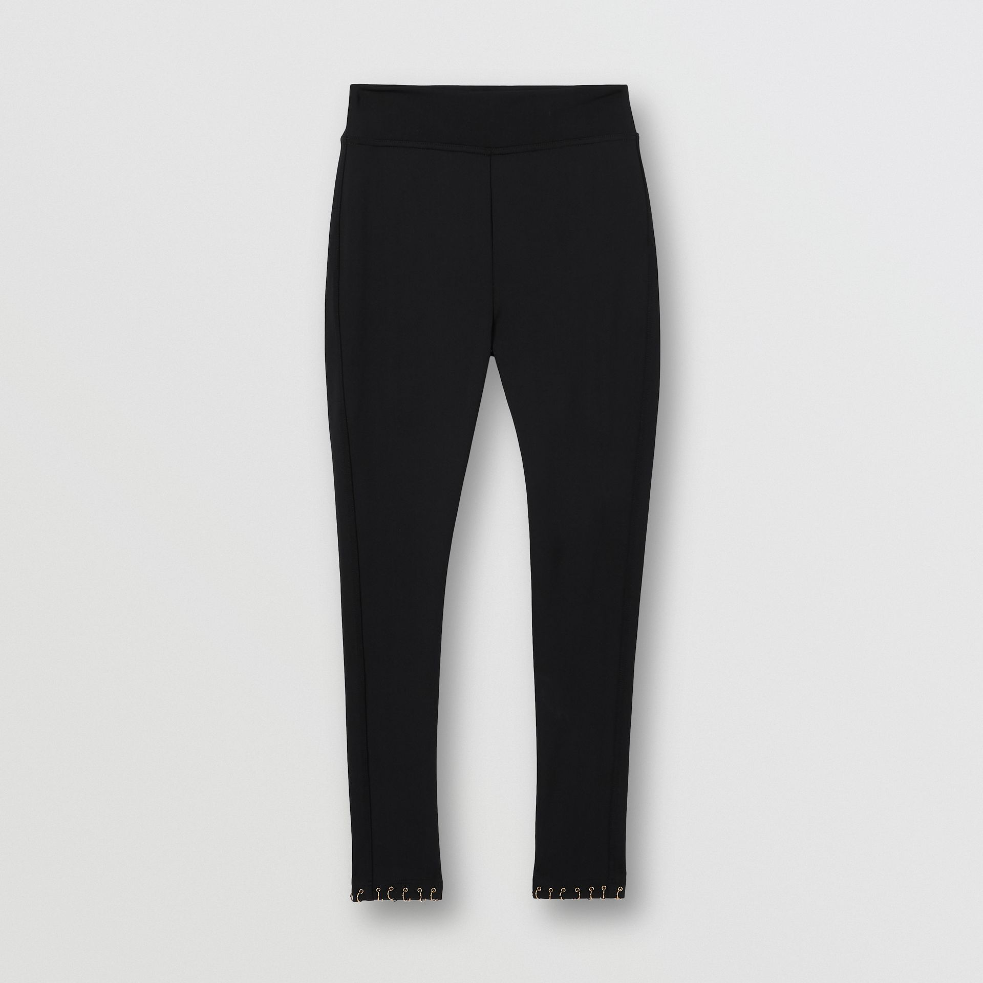 Leggings in jersey stretch con piercing ad anello (Nero) - Donna | Burberry - immagine della galleria 3