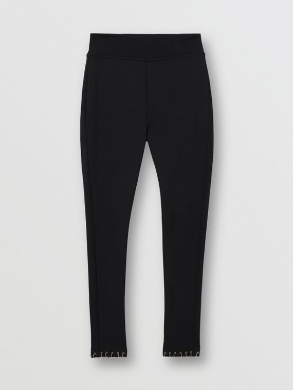 Ring-pierced Stretch Jersey Leggings in Black