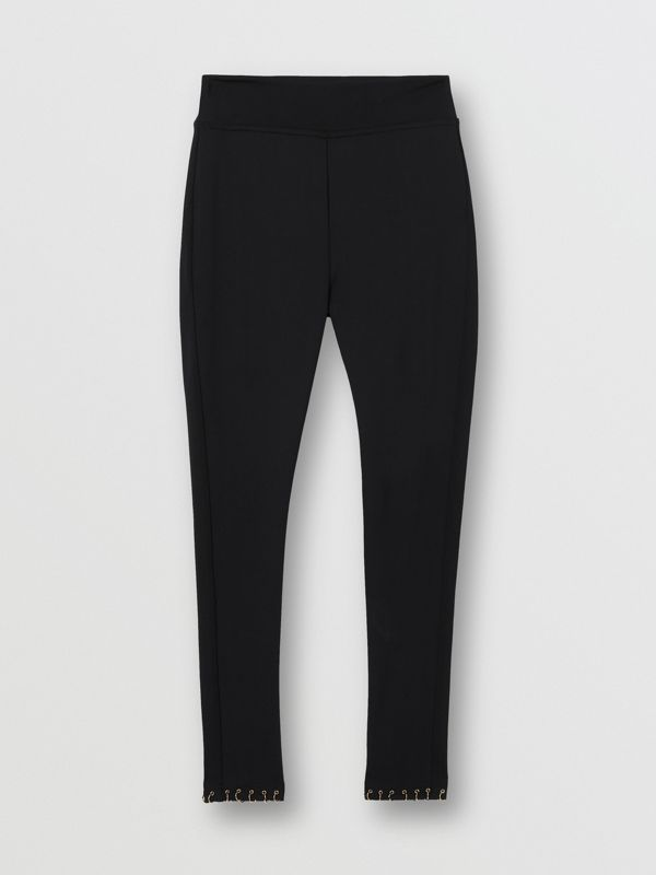 Ring-pierced Stretch Jersey Leggings in Black - Women | Burberry - cell image 3