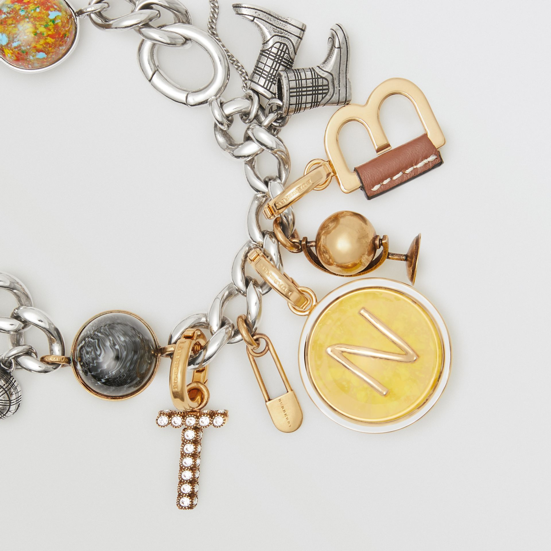 Leather-wrapped 'T' Alphabet Charm in Light Gold/tan - Women | Burberry United States - gallery image 2