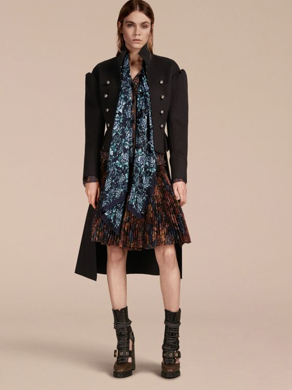 Peony Rose Print Silk Scarf in Ink - Women | Burberry - cell image 2