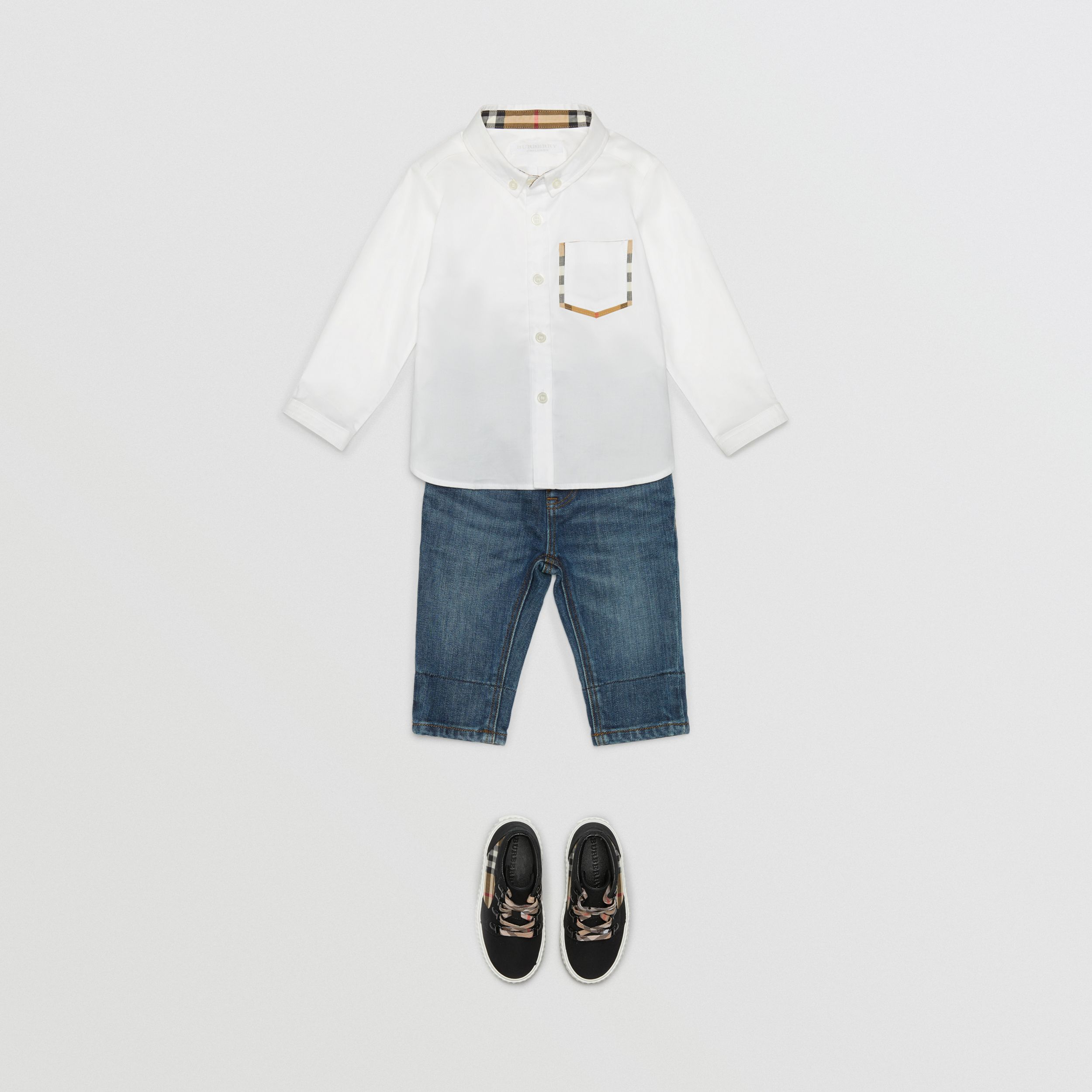 Check Detail Cotton Oxford Shirt in White - Children | Burberry - 3