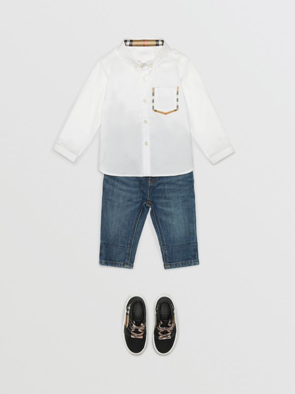 Check Detail Cotton Oxford Shirt in White - Children | Burberry - cell image 2