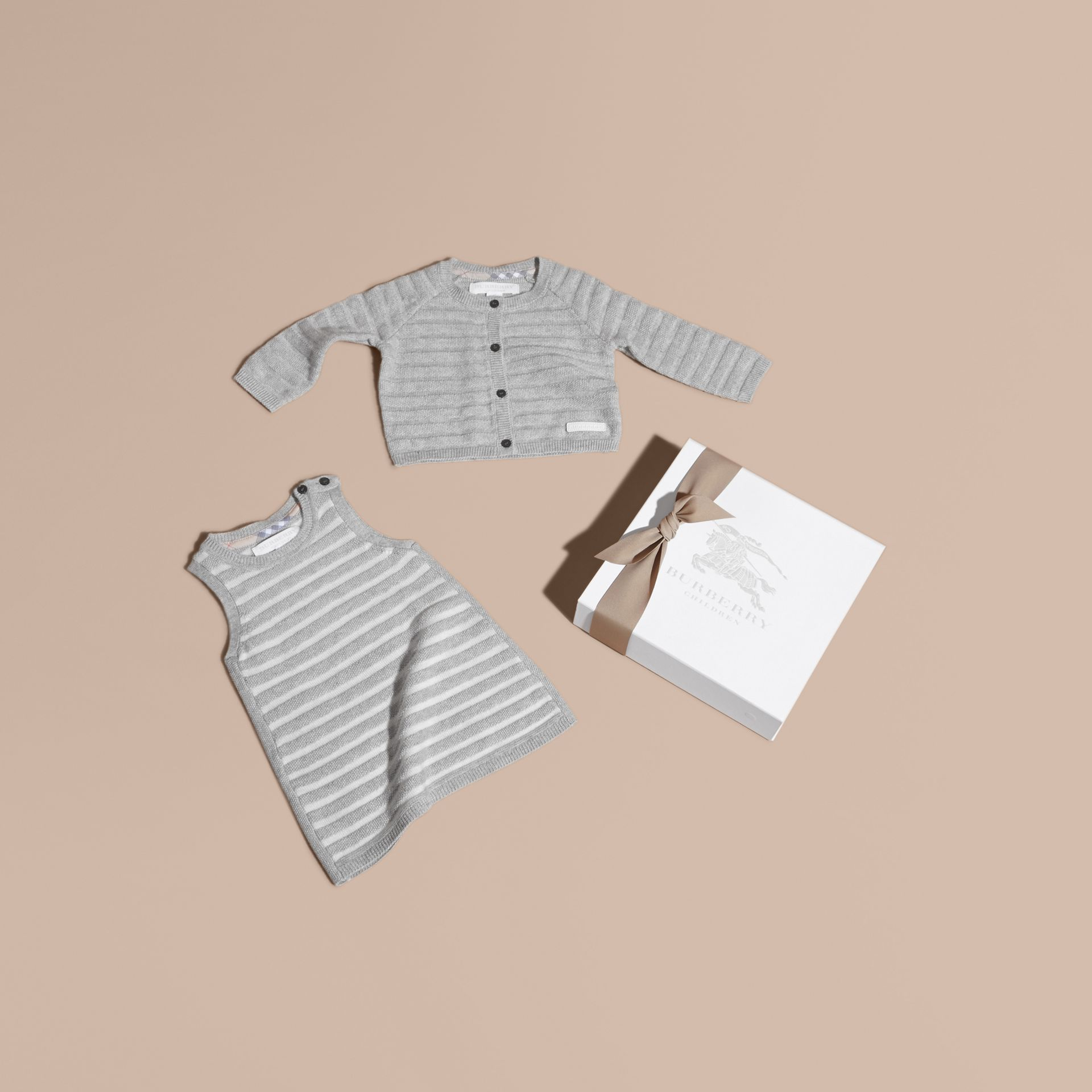 Light grey melange Striped Cashmere Cotton Two-piece Gift Set - gallery image 1