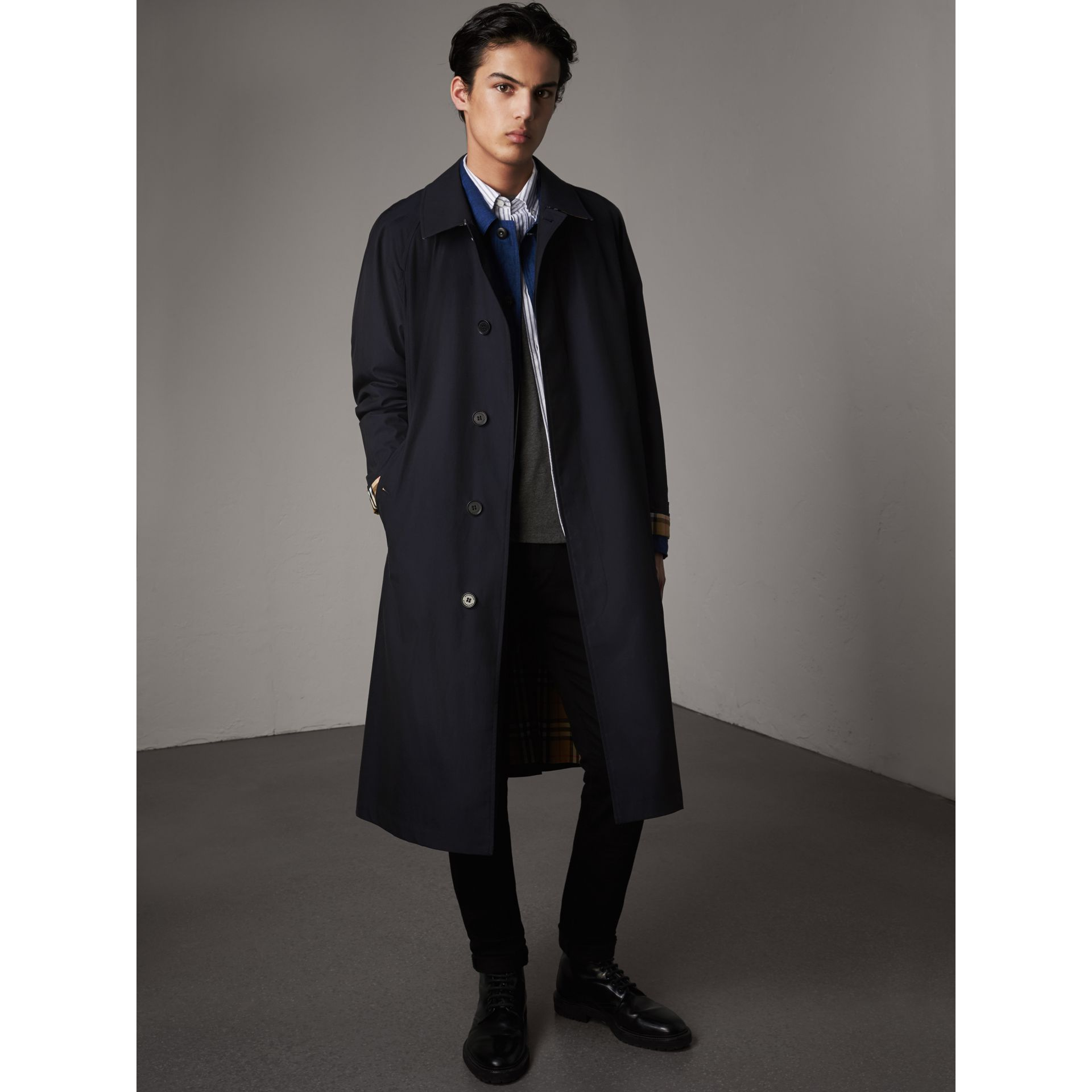 The Brighton – Longline Car Coat in Blue Carbon - Men | Burberry - gallery image 1