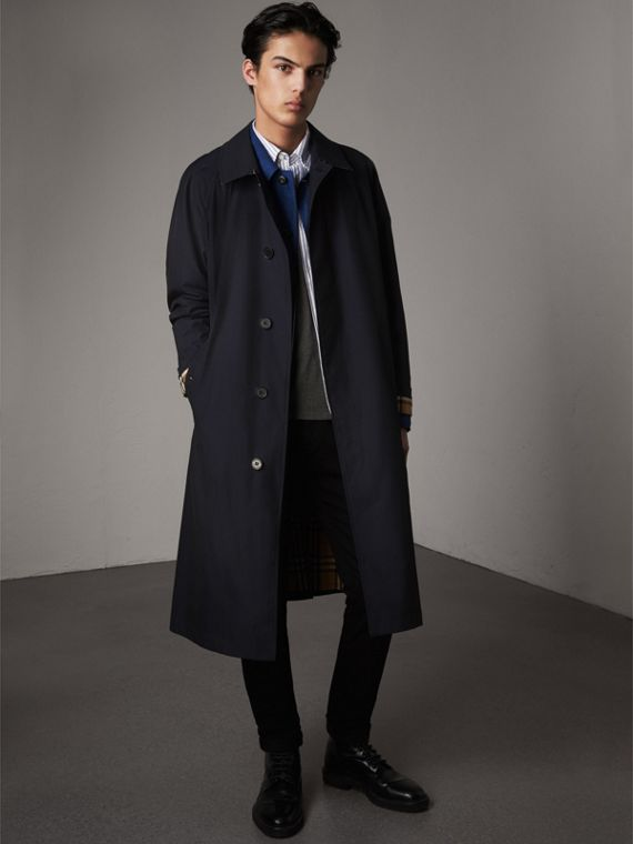 The Brighton – Extra-long Car Coat in Blue Carbon