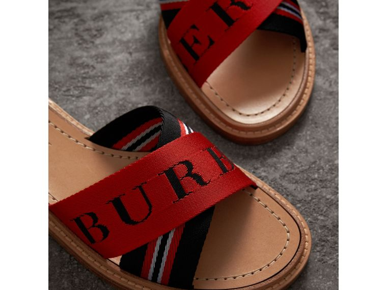 Striped Nylon and Leather Slides in Black/red/white - Women | Burberry - cell image 1