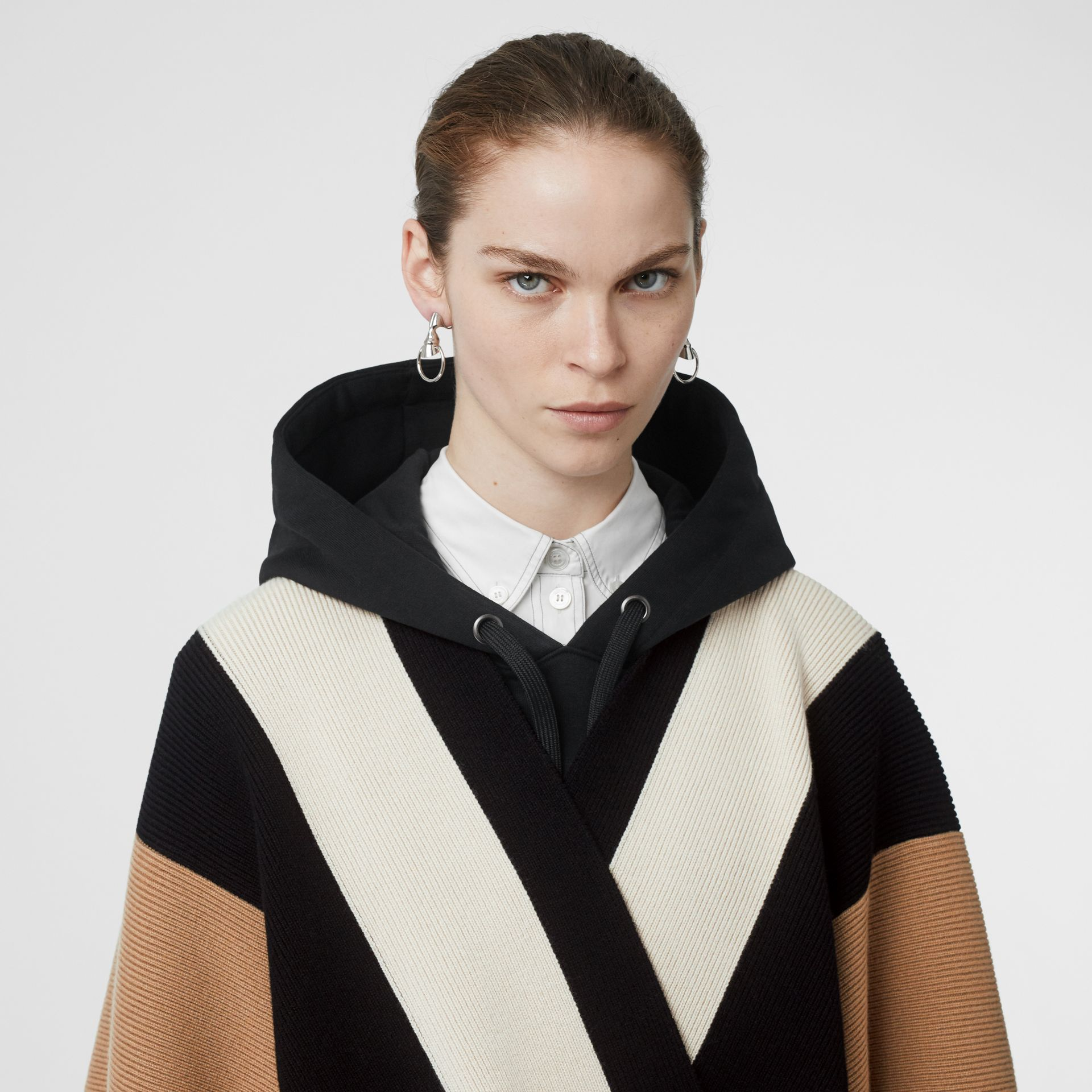 Striped Wool Cashmere Cape in Archive Beige - Women | Burberry - gallery image 1