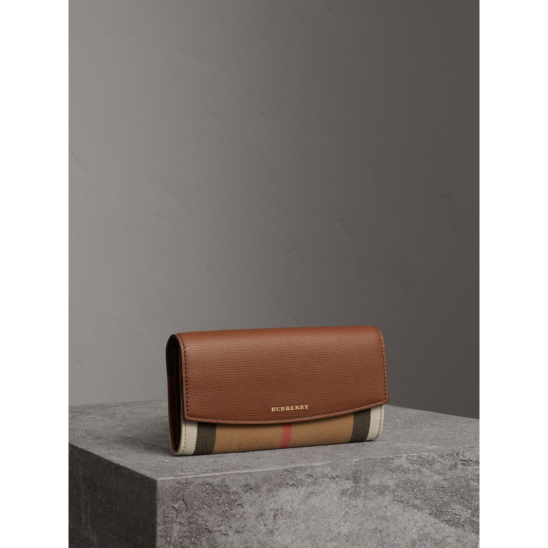 House Check And Leather Continental Wallet in Tan - Women | Burberry Canada - gallery image 1