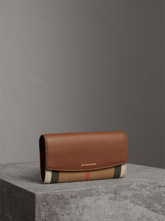 House Check and Leather Continental Wallet in Tan