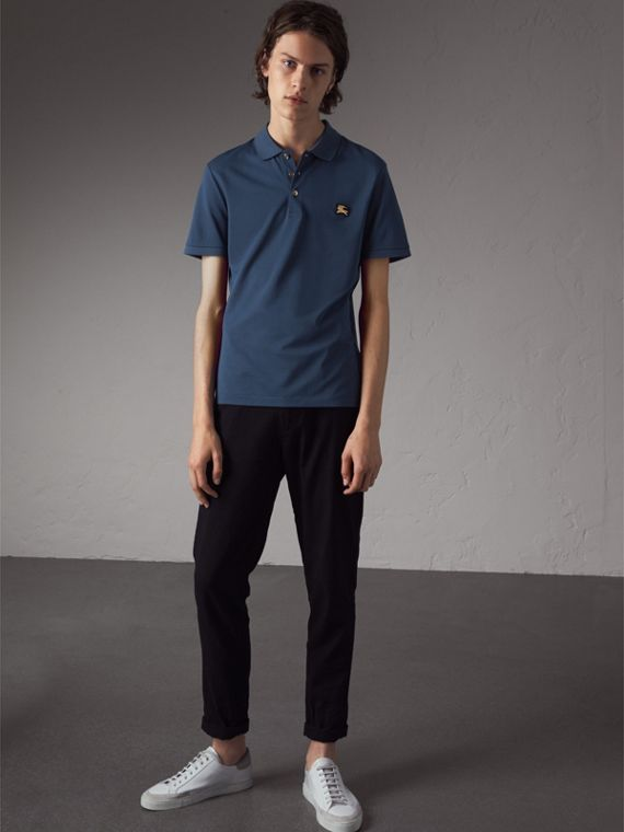 Cotton Piqué Polo Shirt in Steel Blue